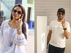 Ever-stylish Andrea and Santhanam make heads turn at their respective booths! VIDEO!